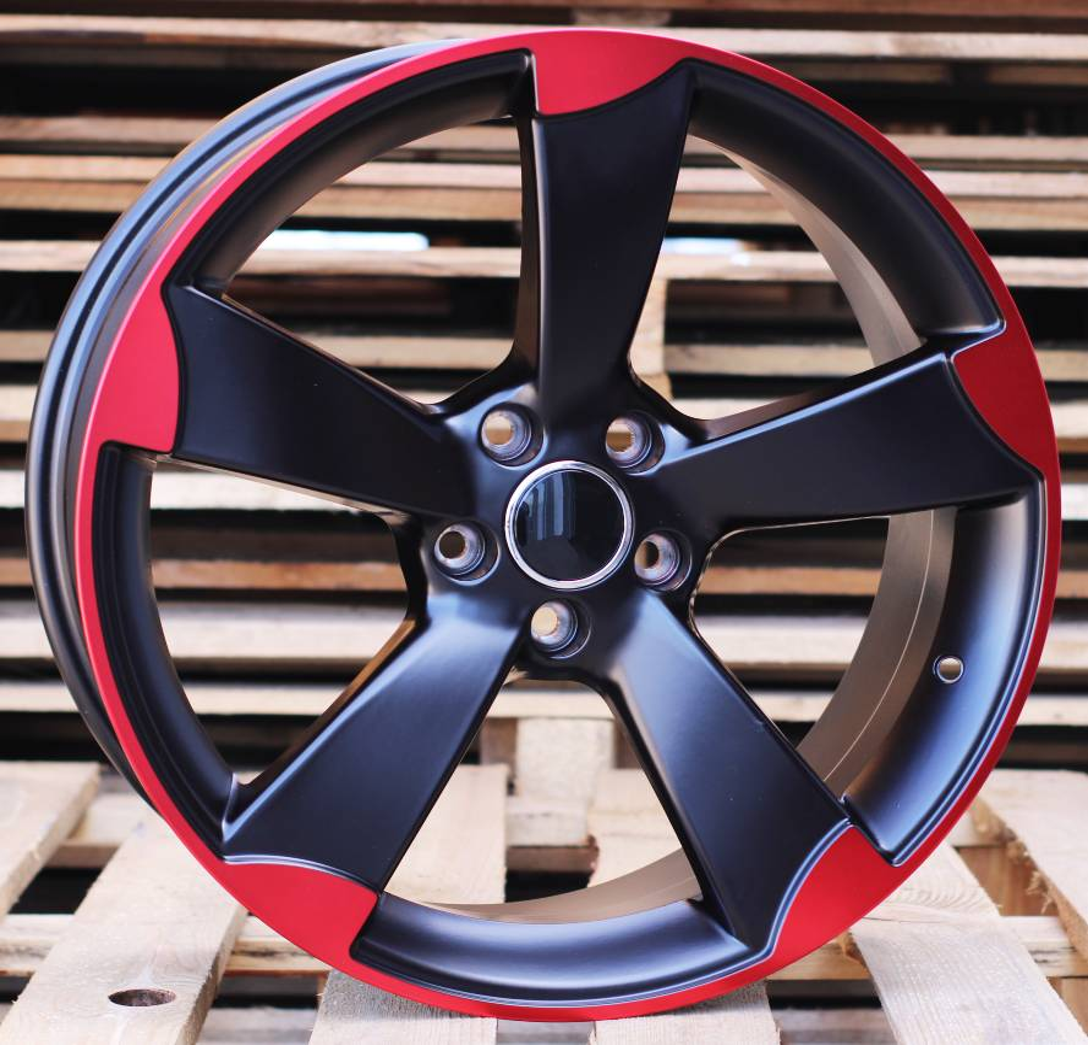 A18X8 5X112 ET35 66.56 BK217 (XF558) Black Half Matt +Red Polish Face RWR AUD (P1)## 8x18 ET36 5x112
