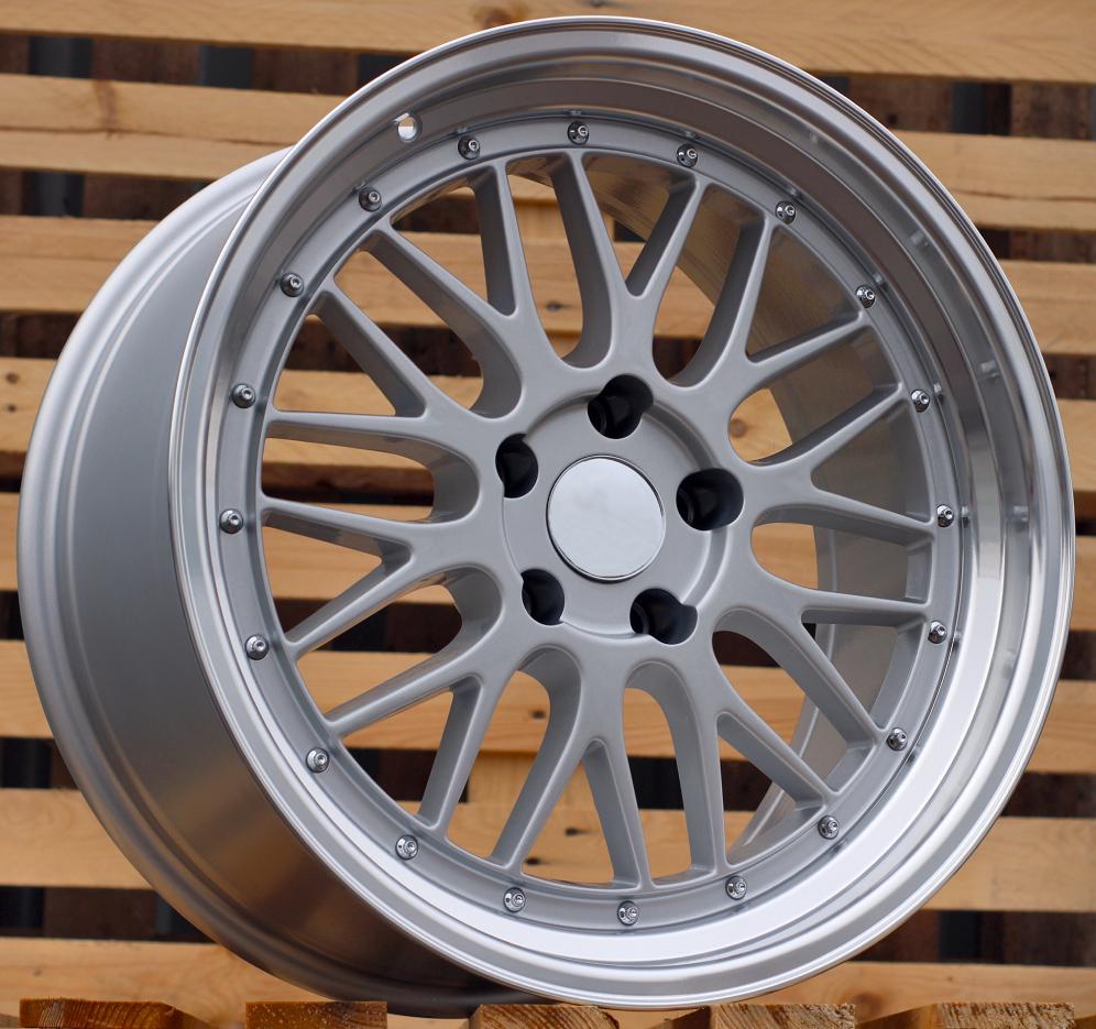 B20X10 5X120 ET40 72.6 BK848 SILVER+POLISH LIP (Rear+Front) RWR Style BBS (K2) 10x20 ET40 5x120