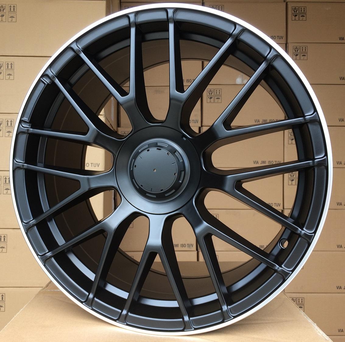M20X8.5 5X112 ET38 66.6 BK912 (A965) Black half matt + polished lip (Rear+Front) RWR MER (P)## 8.5x20 ET38 5x112