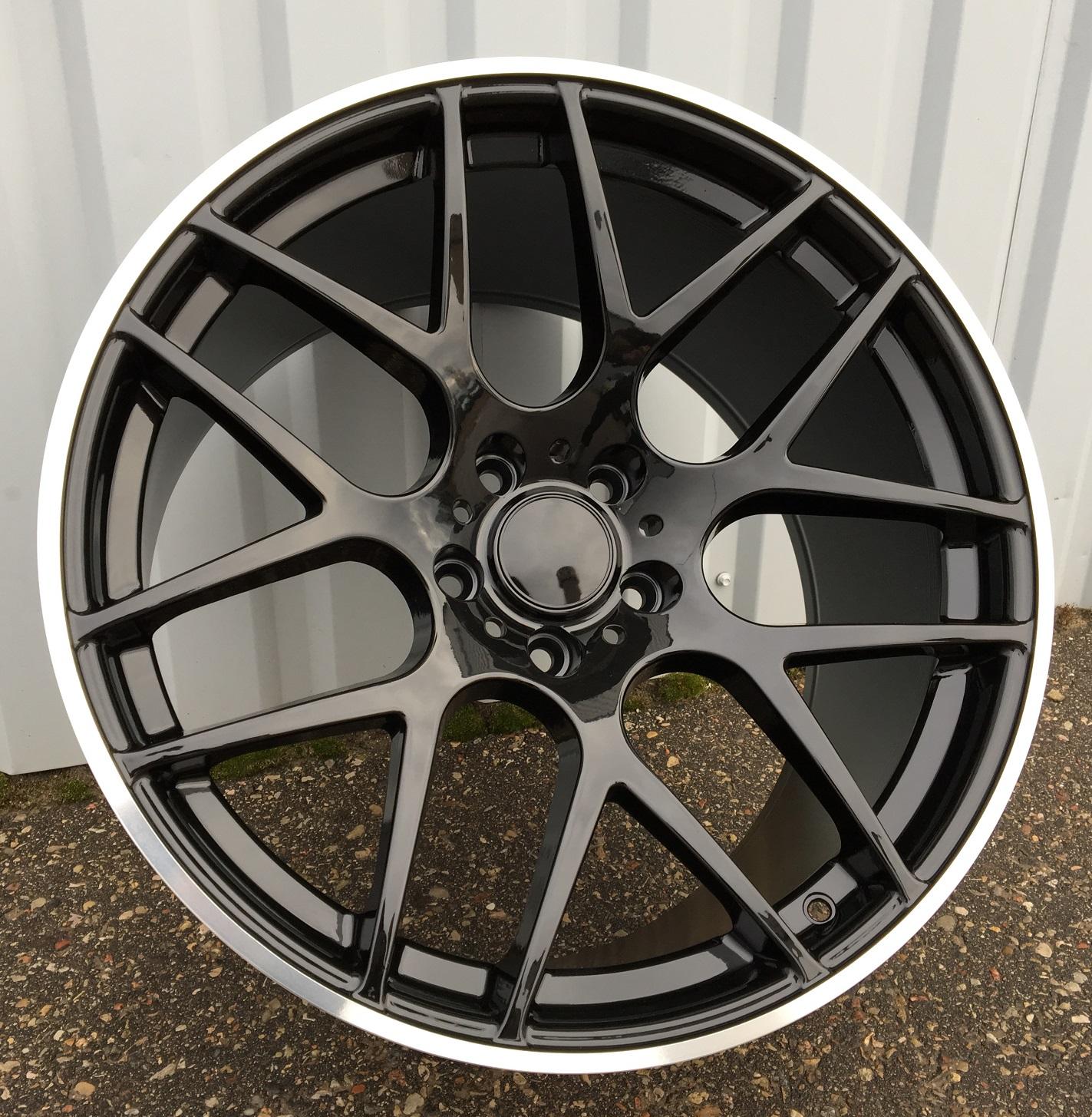 B20X10 5X120 ET40 74.1 FR850 BLACK+polished lip (Rear+Front) RWR BM(950kg) (P) 10x20 ET40 5x120